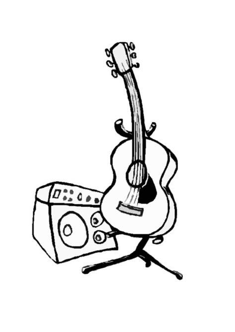 kleurplaat gitaar gratis kleurplaten om te printen afb