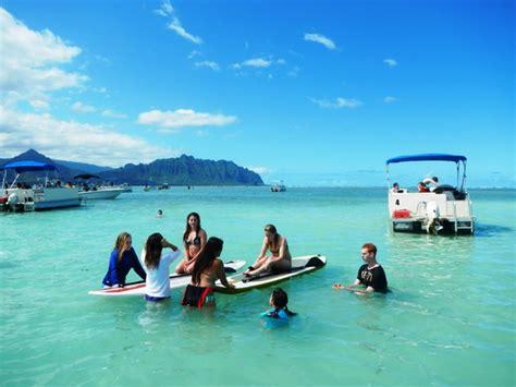 Pontoon Boat Rental Oahu by Ahu O Laka Kaneohe Sandbar Hiking Hawaii