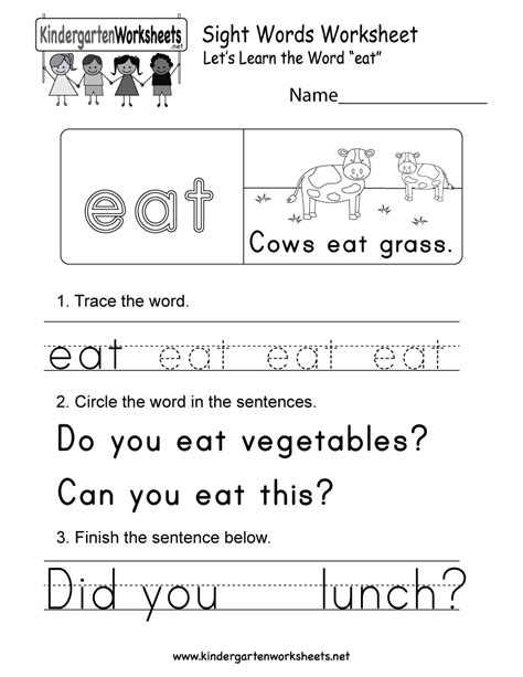 Sight Word (eat) Worksheet  Free Kindergarten English Worksheet For Kids