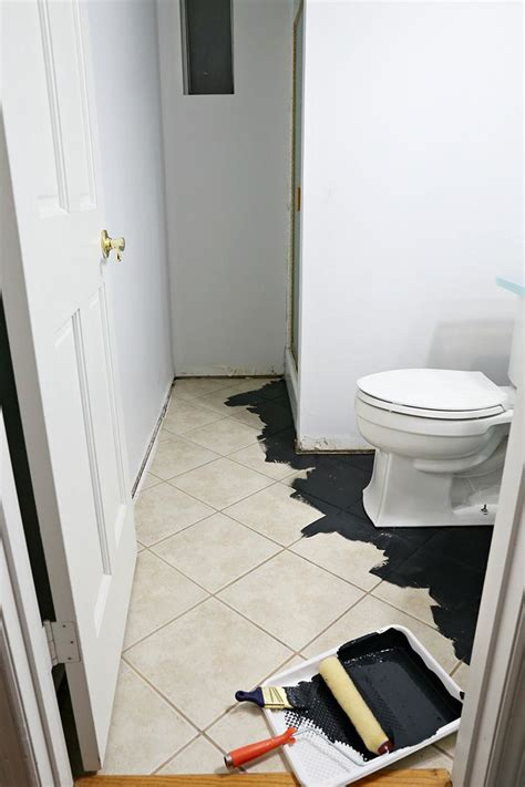 Painting Tile Floors In Bathroom diy painted stencil bathroom floor floors painting