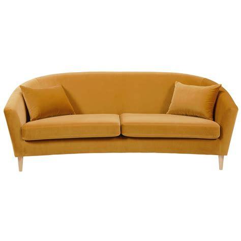 canape en promo canapé 4 places en velours jaune moutarde romy pas cher