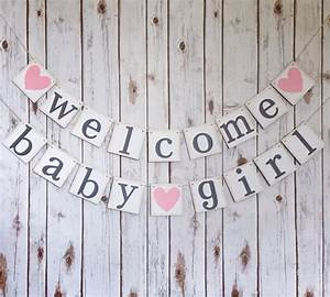 WELCOME BABY GIRL banner welcome baby girl sign baby shower
