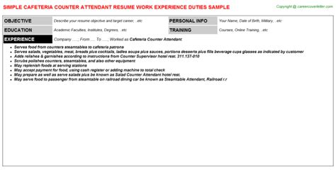 Food Counter Attendant Resume by Sle Resume Food Counter Attendant