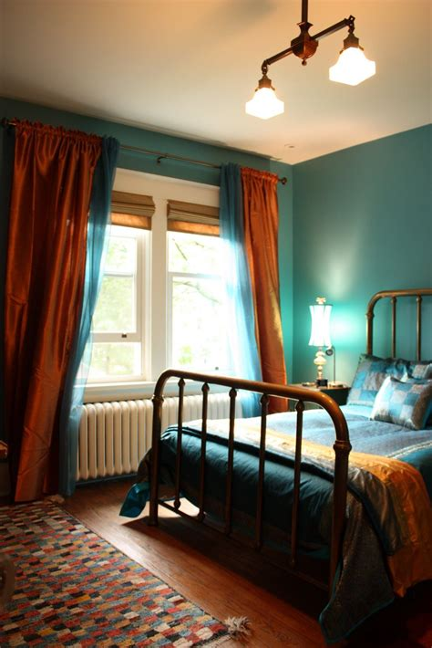 bedroom   teal  copper  mix  bohemian chic