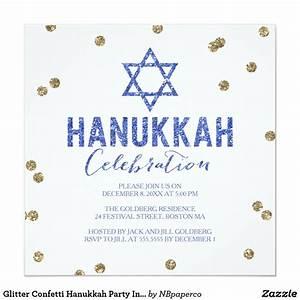 Glitter Confetti Hanukkah Party Invitation