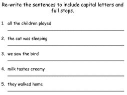 capital letters and full stops by teacher of primary teaching resources tes