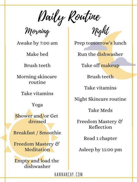 creating daily routines   daily checklist healthy