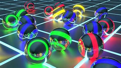 4k 3d Neon Wallpapers Balls Yellow Cool