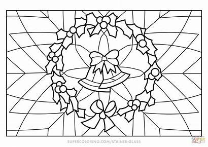 Coloring Stained Glass Wreath Printable Through