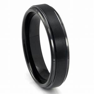 black tungsten carbide wedding band ring w raised center With wedding rings black