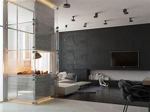 modern concrete fireplace Interior Design Ideas