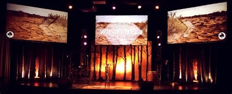 forest silhouette church stage design ideas