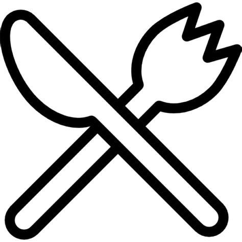 ensemble de couteaux de cuisine fourchette et le couteau décrit croix télécharger icons