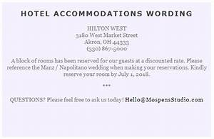wording to use when giving out room block information to With examples of wedding accommodation cards
