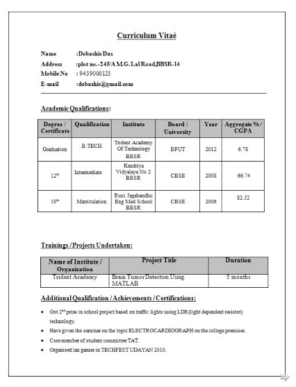 Sle Resume For Freshers Bca by Curriculum Vitae Format For Bca 100 Images Professional Fresher Resume Accounting Cv Sle