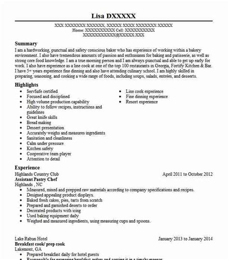 assistant pastry chef resume sle chef resumes
