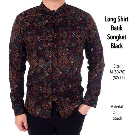 jual kemeja batik pria lengan panjang songket hitam di lapak fashion pria roby oshop