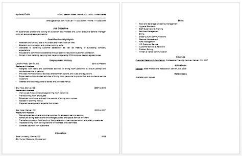 10 host hostess resume sle writing resume sle