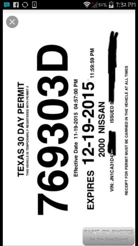 temporary tag template 15 30 day temp tag temporary plate cars trucks in ny offerup