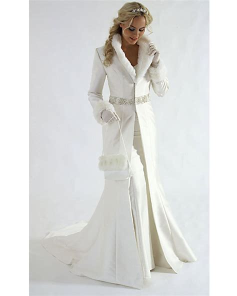 New Arrivals Winter Wedding Dress Wedding Coat V Neck Long