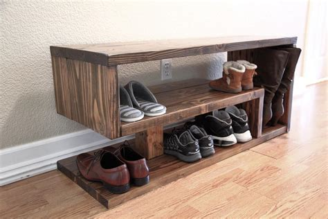 build  shoe rack bench  entryway thediyplan