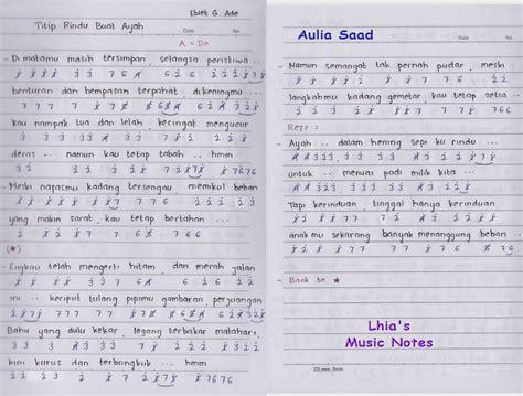 lhia s music notes not lagu titip rindu buat ayah lhia 39 s music notes