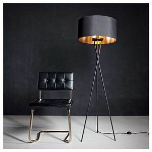 Eglo, Matt, Black, Tripod, Floor, Lamp, With, Black, Shade, 95541