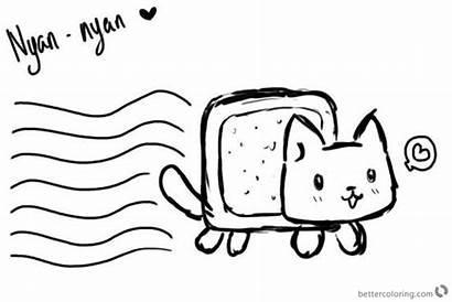 Nyan Cat Coloring Pages Printable Kawaii Sheet