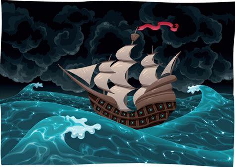 Barco En Una Tormenta Dibujo by Elements Of Storm Backgrounds Design Vector Set 01
