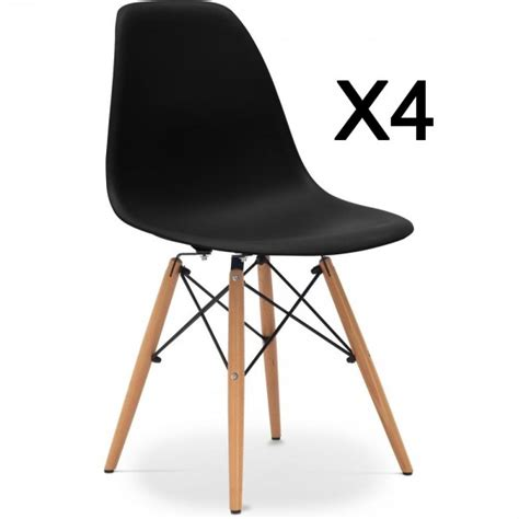 lot de 4 chaises design lund noir coin du design