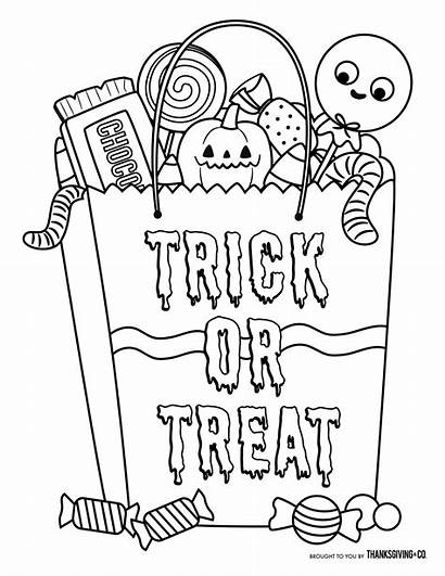 Halloween Coloring Pages Thanksgiving Treat Trick Candy