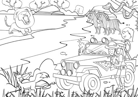 Free Coloring Pages Of Safari Jeep