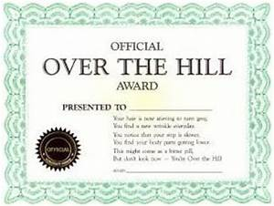 over the hill the hill and over the on pinterest With joke certificate templates