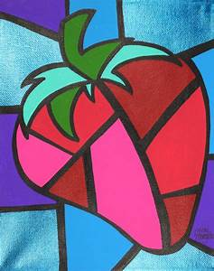 Drawn cubism fruit - Pencil and in color drawn cubism fruit