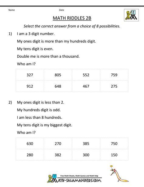 math riddle worksheets math riddles