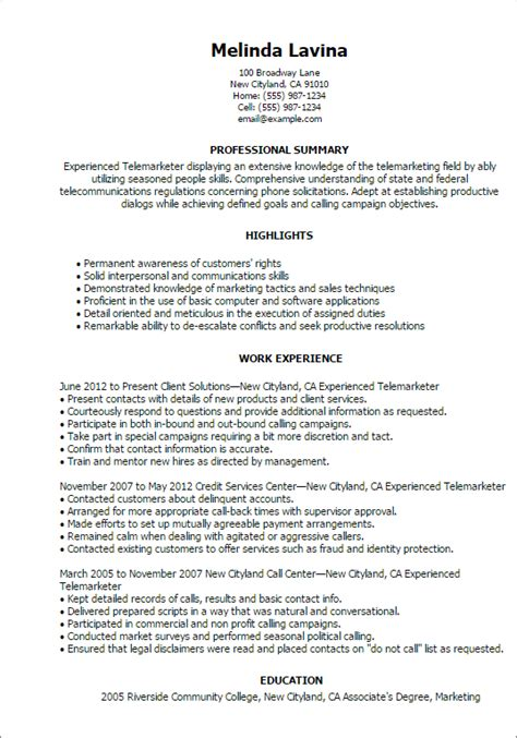Telemarketer Resume Description by Professional Experienced Telemarketer Templates To Showcase Your Talent Myperfectresume