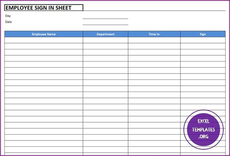 employee sign in sheet template employee sign in sheet template excel templates excel spreadsheets excel templates excel
