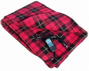 12 Volt 100  Fleece Red Plaid Heated Travel Blanket
