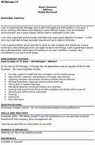 HR Manager CV Example  icover org uk