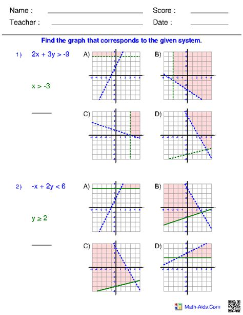 math aids graphing inequalities worksheets answer key