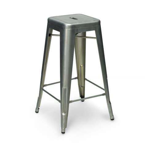Steel Stool by Xavier Pauchard 65cm Galvanised Industrial Metal Stool