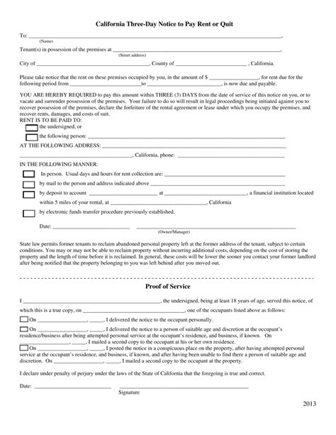 free 3 day notice form california 3 day notice to quit form non payment of rent