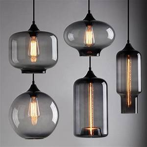 Modern industrial smoky grey glass shade loft cafe pendant
