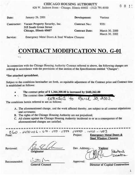 Modification Contract january 26 2001 contract modification g 01 the view
