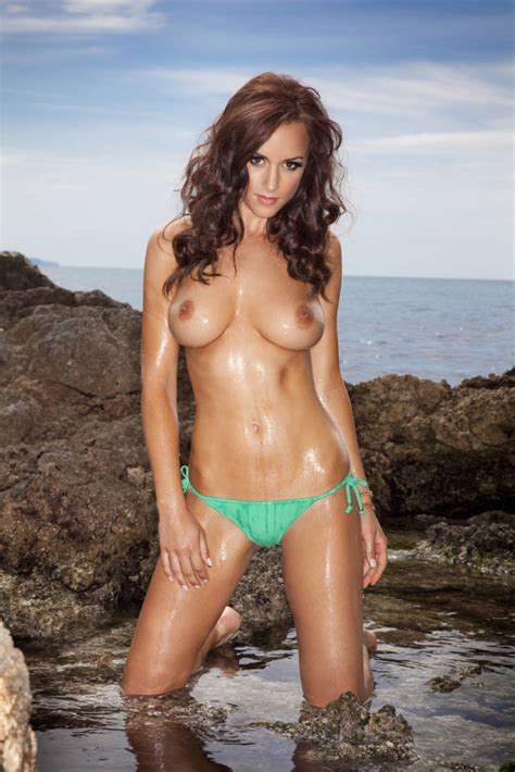 Rosie Jones Topless In Green Bikini Bottom