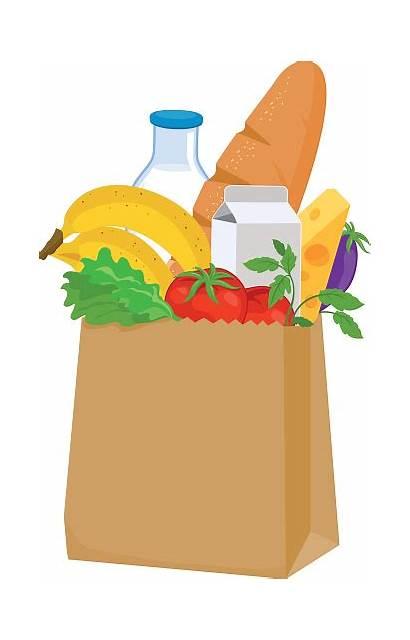 Groceries Grocery Bag Clipart Vector Illustration Illustrations