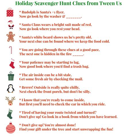scavenger hunt clues printable holiday scavenger hunt clues make present finding fun between us parents