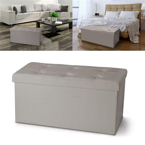 banc coffre rangement pvc taupe 100x38x38 cm pliable meubles et am
