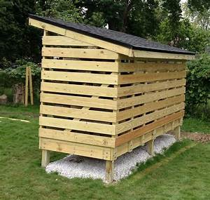 Simple DIY Covered Firewood Shed Storage With Roof In The