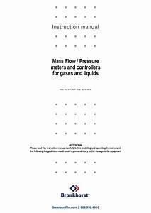 Instruction Manual For Bronkhorst Mass Flow Pressure